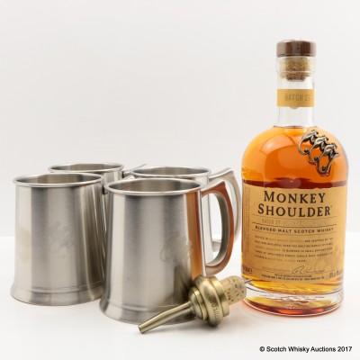 Monkey Shoulder with Pourer & 4 Metal Tankards