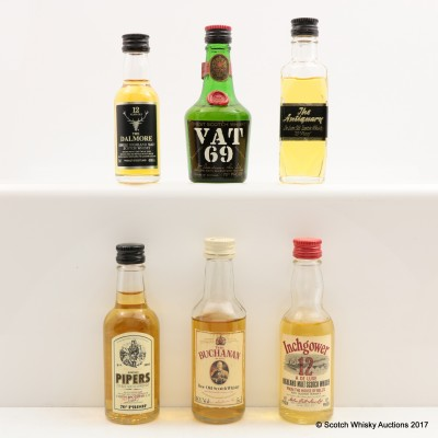 Assorted Miniatures x 6 Including Dalmore 12 Year Old 3cl