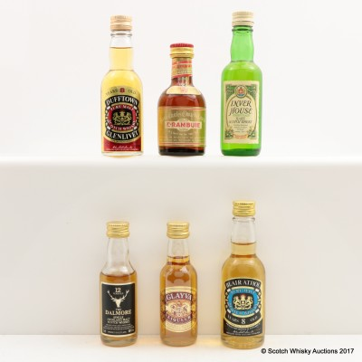 Assorted Miniatures x 6 Including Dufftown-Glenlivet 8 Year Old 5cl
