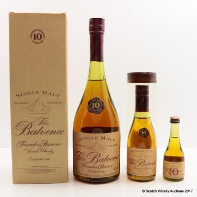 Balvenie 10 Year Old Founder's Reserve Cognac Bottle 75cl, 20cl & 5cl