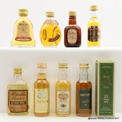 Assorted Blended Minis x 8 including Ben Nevis 21 Year Old Mini 5cl