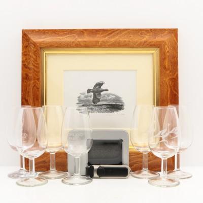Famous Grouse Original Signed, Framed Print, Glencairn Glasses x 6, Highland Park USB Stick & Nosing Glass