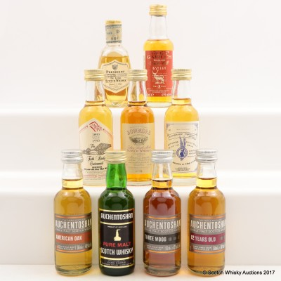 Assorted Minis 9 x 5cl Including Bowmore 1965 Mini 5cl