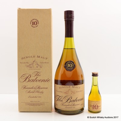 Balvenie 10 Year Old Founder's Reserve Cognac Bottle with Matching Mini 5cl
