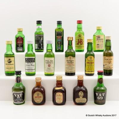 Assorted Blended Whisky Miniatures 16 x 5cl Including VAT 69 Reserve