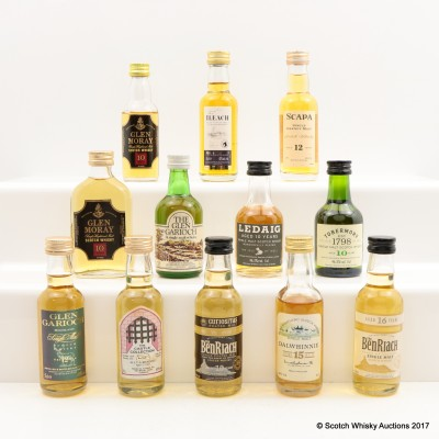 Assorted Miniatures 12 x 5cl Including Allt-a-Bhainne 1979 13 Year Old Castle Collection