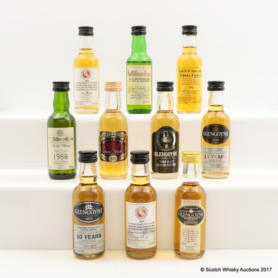 Assorted Miniatures 10 x 5cl Including Spirit Of Speyside Whisky Festival 2006-2008 10 Year Olds