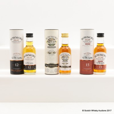 Assorted Bowmore Miniatures 3 x 5cl Including Bowmore Darkest Sherry Casked From the No. 1 Vaults