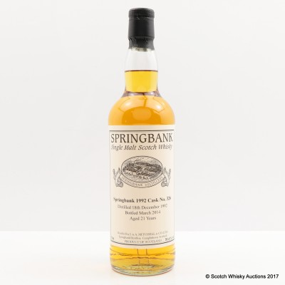 Springbank 1992 21 Year Old Single Cask #326