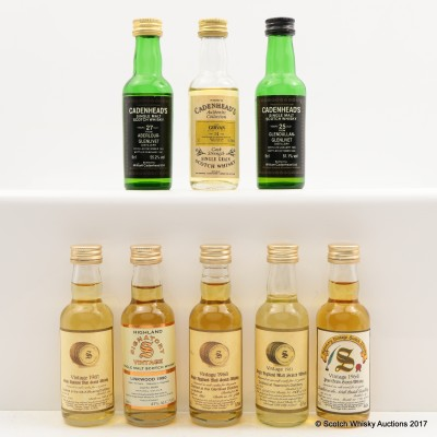 Assorted Minis 8 x 5cl Including Girvan 1979 14 Year Old Cadenhead's Mini