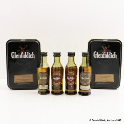 GLENFIDDICH 15 YEAR OLD MINI 5CL & GLENFIDDICH 18 YEAR OLD MINI 5CL IN TIN X 2