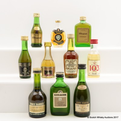 Assorted Minis 10 x 5cl Including Martell Cognac 5cl