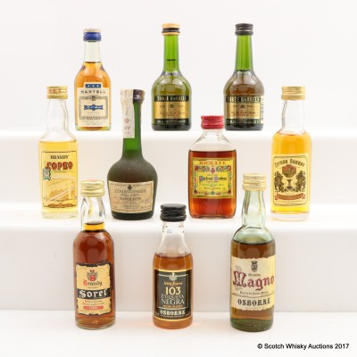 Assorted Minis 10 x 5cl Including Raynal & Co 3 Barrels VSOP Cognac