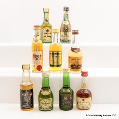 Assorted Minis 9 x 5cl Including Asbach Uralt Brandy