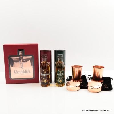 Glenfiddich Copper Hip Flask, 2 Telescopic Cups, Glenfiddich Reserve Cask Mini & Select Cask Mini 2 x 5cl