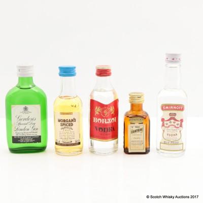 Assorted Miniatures 5 x 5cl Including Borzoi Vodka