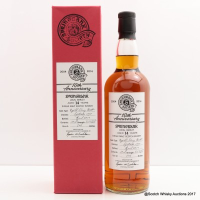 Springbank 1999 14 Year Old Society 10th Anniversary