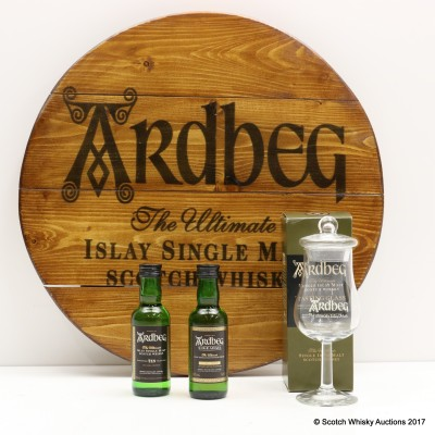 Ardbeg 10 Year Old Mini 5cl, Uigeadail Mini 5cl, Tasting Glass & Decorative Cask End