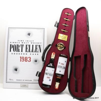 Port Ellen 1982 & 1983 'Don Gallione' Jack Wieber's Whisky World 20th Anniversary with Framed Canvas