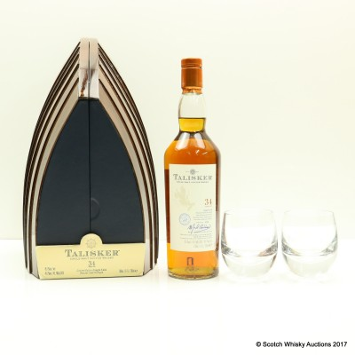 Talisker 34 Year Old Single Cask Boat Cabinet & Crystal Glasses