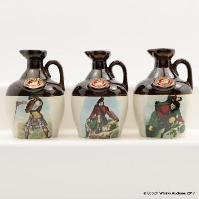 Rutherford's Ceramic Montrose Decanters x 3