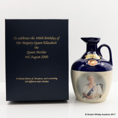 Rutherford's Ceramic 100th Birthday of the Queen Mother Decanter