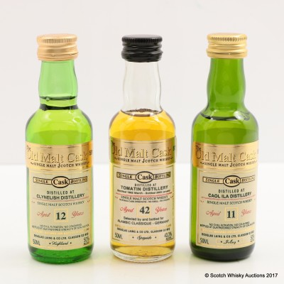 Assorted Old Malt Cask Minis 3 x 5cl including Tomatin 1962 42 Year Old Mini 5cl