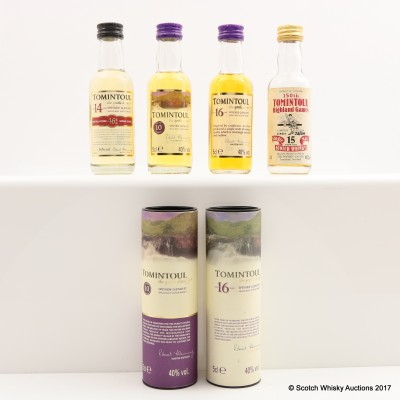 Assorted Tomintoul Minis 4 x 5cl including Tomintoul 16 Year Old Mini 5cl
