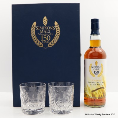 Highland Single Malt 30 Year Old for 150th Anniversary of Simpsons Malt & 2 x Glasses