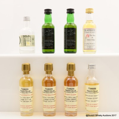 Assorted Minis 8 x 5cl Including Bladnoch 20 Year Old Royal Wedding Commemorative Release