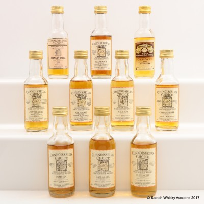 Assorted Connoisseurs Choice Minis 10 x 5cl Including Dallas Dhu 1971 5cl