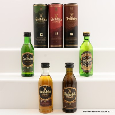 Assorted Glenfiddich Minis 4 x 5cl Including Glenfiddich 18 Year Old