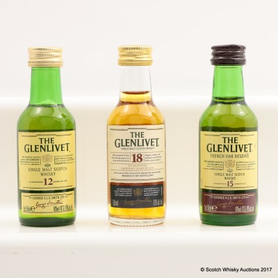 Assorted Glenlivet Minis 3 x 5cl Including Glenlivet 18 Year Old