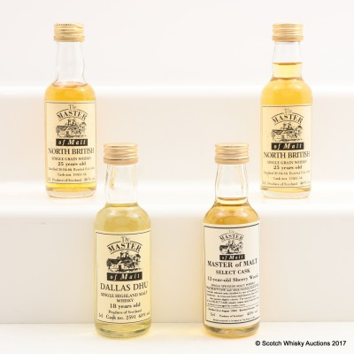 Assorted Master Of Malt Minis 4 x 5cl Including Dallas Dhu 18 Year Old