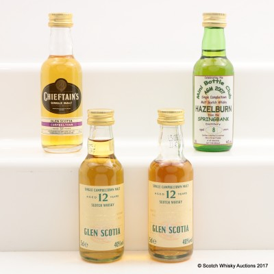Assorted Miniatures 4 x 5cl Including Glen Scotia 12 Year Old