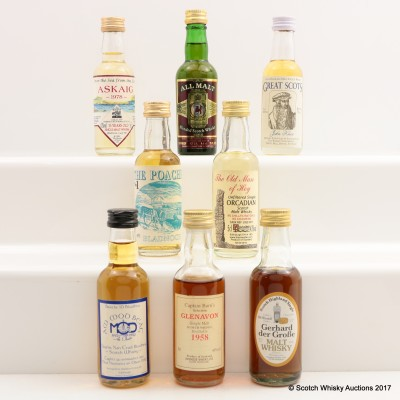 Assorted Minis 8 x 5cl Including Glenavon 1958 Captain Burn's Selection