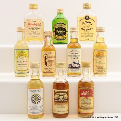 Assorted Minis 10 x 5cl Including Benromach 1968 Connoisseurs Choice