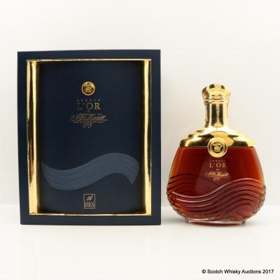 Martell L'or Cognac 24kt Gold Sealed Crystal Baccarat Decanter