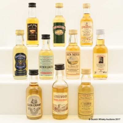 Assorted Minis 10 x 5cl Including Linkwood 12 Year Old