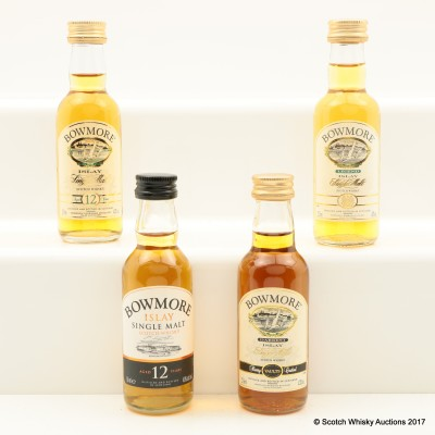 Assorted Bowmore Minis 4 x 5cl Including Bowmore Darkest