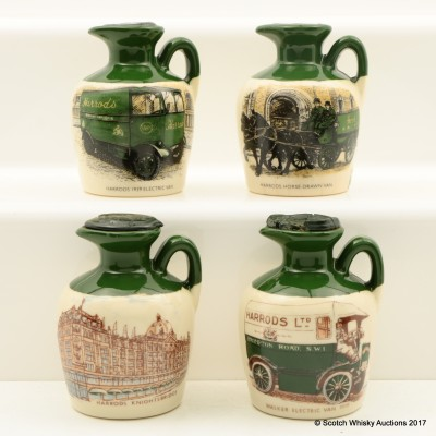 Assorted Lindisfarne Ceramic Harrod's Flagon Minis 4 x 4.75cl