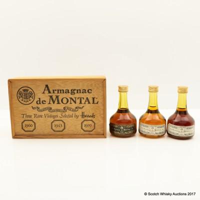 Armagnac de Montal Mini Set 3 x 5cl including Armagnac de Montal 1939 Mini 5cl