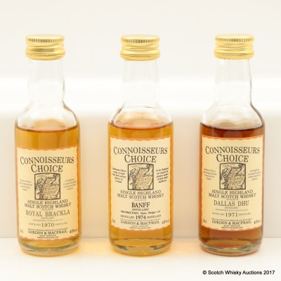 Assorted Connoisseurs Choice Minis 3 x 5cl Including Banff 1974