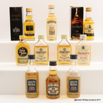 Assorted Minis 10 x 5cl Including Dewar's 12 Year Old