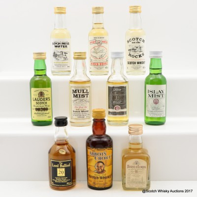 Assorted Minis 10 x 5cl Including House Of Lords 8 Year Old
