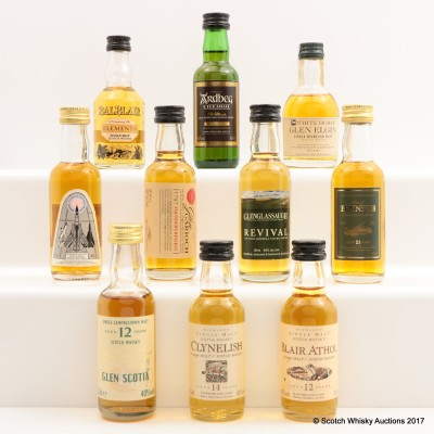 Assorted Minis 10 x 5cl Including Flora & Fauna Clynelish 14 Year Old