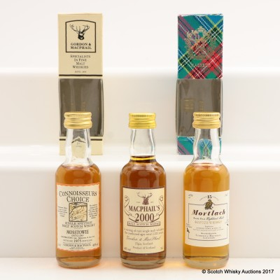 Assorted Gordon & MacPhail Minis 3 x 5cl Including Mosstowie 1975
