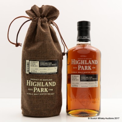 Highland Park 2003 13 Year Old Single Cask For Highland Park Appreciation Society Single Cask #2115