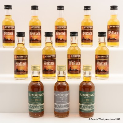 Assorted Minis 12 x 5cl Including BenRiach 21 Year Old 5cl