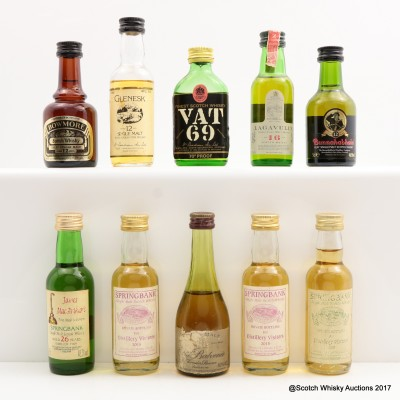 Assorted Minis 10 x 5cl including Springbank 2007 Distillery Visitors Mini 5cl